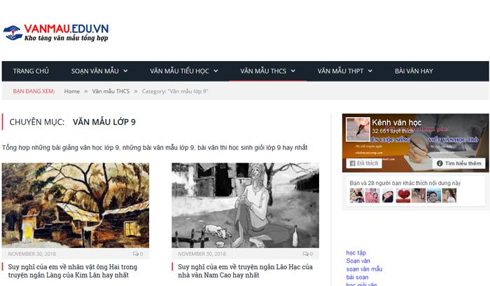 top 10 website nhung bai van mau hay lop 9 moi nhat 1 - Top 10 website những bài văn mẫu hay lớp 9 mới nhất
